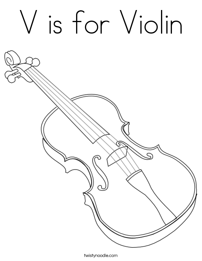 V is for violin coloring page twisty noodle for Viola coloring page