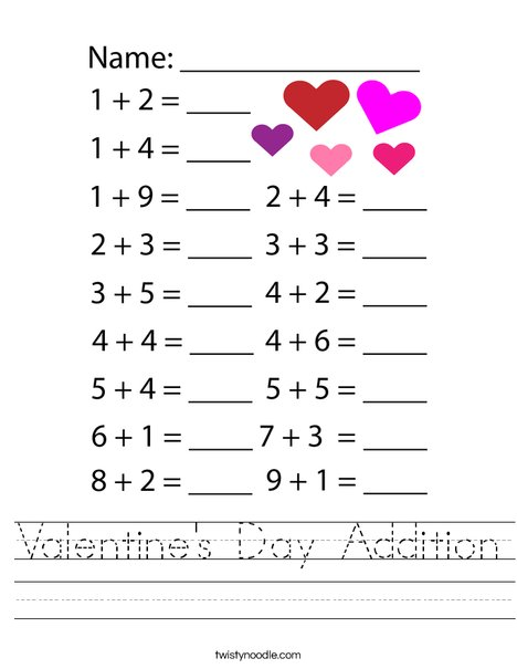 Valentine's Day Addition Worksheet
