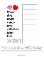 Valentine's Day ABC Order Handwriting Sheet