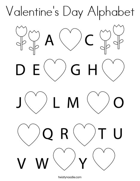 Valentine's Day Alphabet Coloring Page