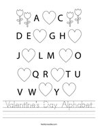 Valentine's Day Alphabet Handwriting Sheet