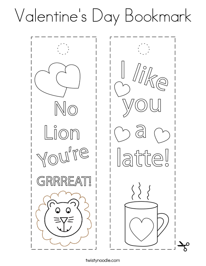 Valentine's Day Bookmark Coloring Page