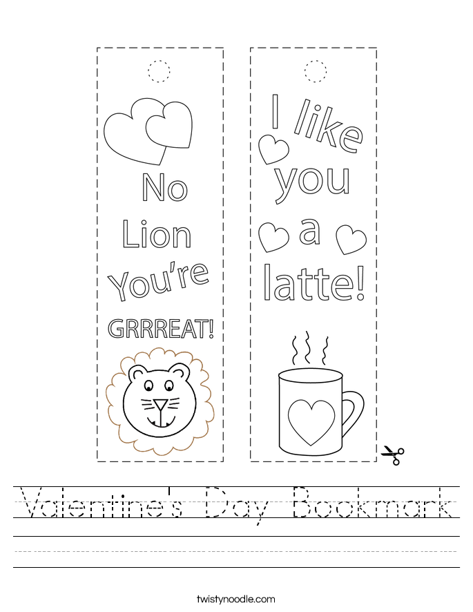 Valentine's Day Bookmark Worksheet - Twisty Noodle