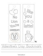 Valentine's Day Bookmark Handwriting Sheet