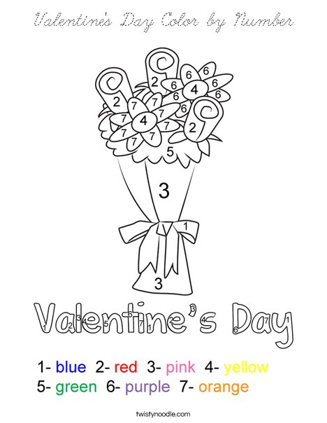 Valentine's Day Color by Number Coloring Page