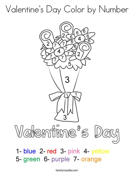 Valentine\'s Day Color by Number Coloring Page - Twisty Noodle