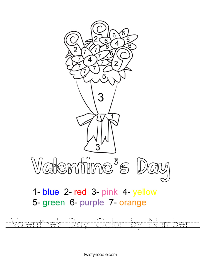 Valentine\'s Day Color by Number Worksheet - Twisty Noodle