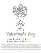 Valentine's Day Color by Number Handwriting Sheet