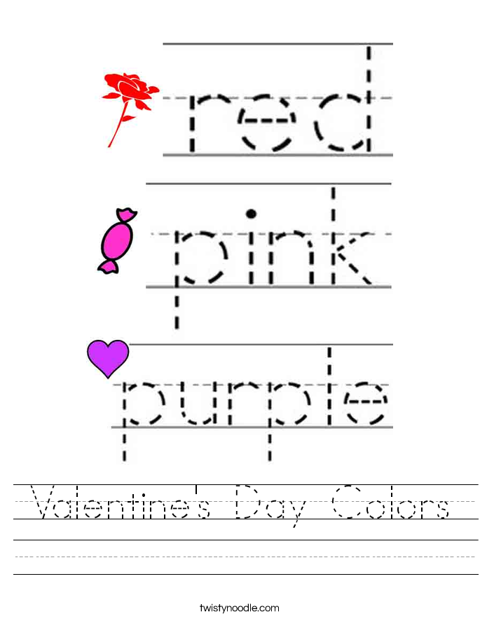 Valentine's Day Colors Worksheet