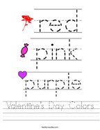 Valentine's Day Colors Handwriting Sheet