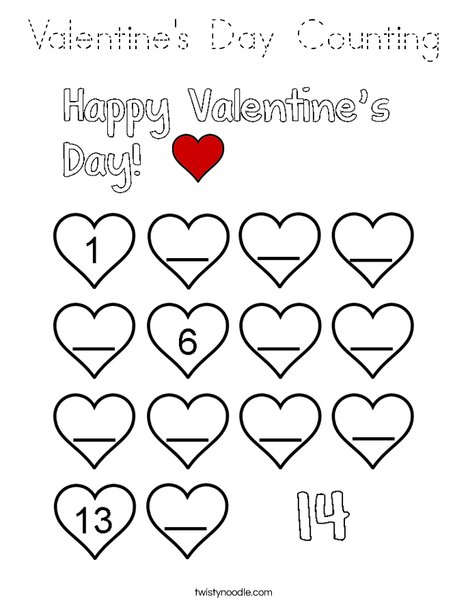 Valentine's Day Counting Coloring Page