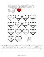 Valentine's Day Counting Handwriting Sheet