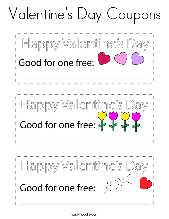 Valentine's Day Coupons Coloring Page