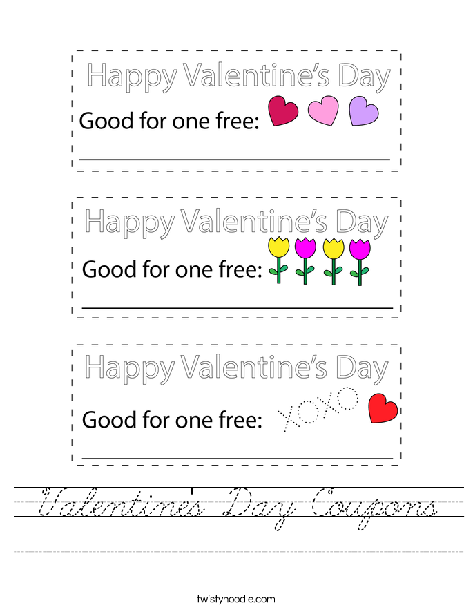 Valentine's Day Coupons Worksheet - Cursive - Twisty Noodle