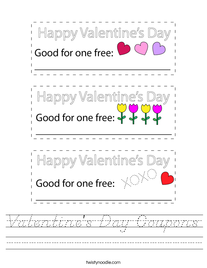 Valentine's Day Coupons Worksheet - D'Nealian - Twisty Noodle