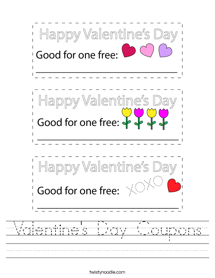 Valentine's Day Coupons Worksheet