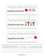 Valentine's Day Coupons Handwriting Sheet
