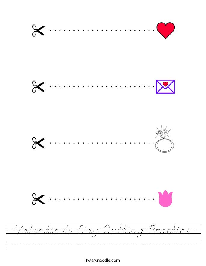 Valentine's Day Cutting Practice Worksheet