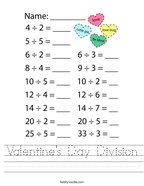 Valentine's Day Division Handwriting Sheet