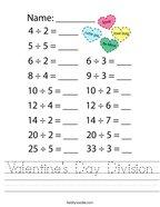 Valentine's Day Division Handwriting Sheet
