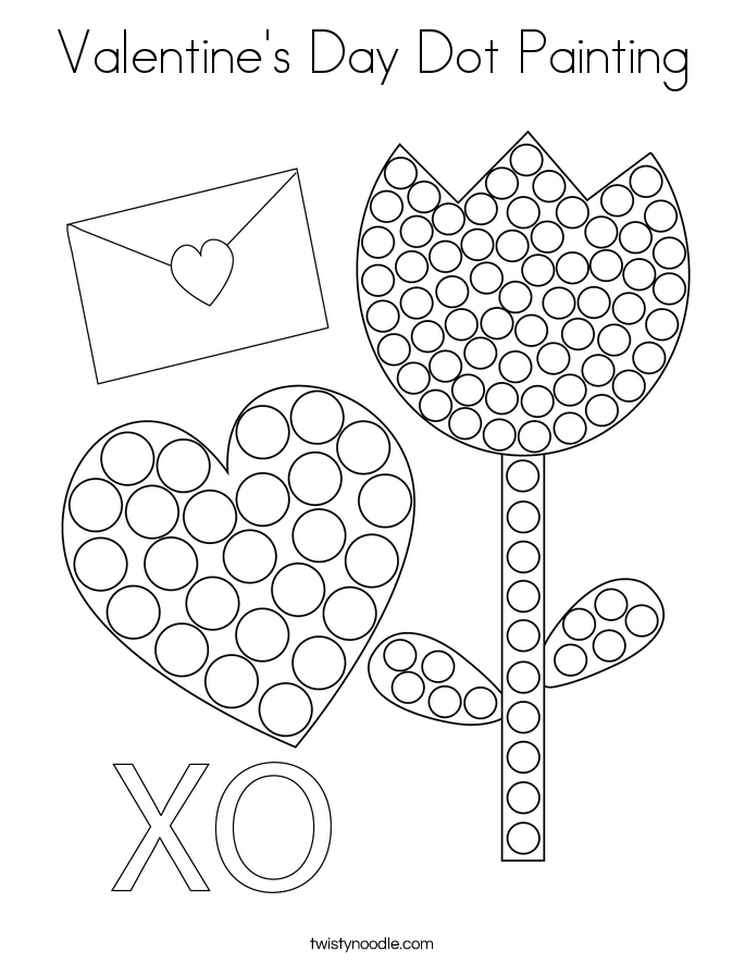 Valentine's Day Dot Painting Coloring Page