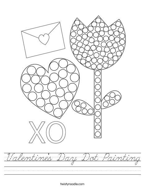 Valentine's Day Dot Painting Worksheet