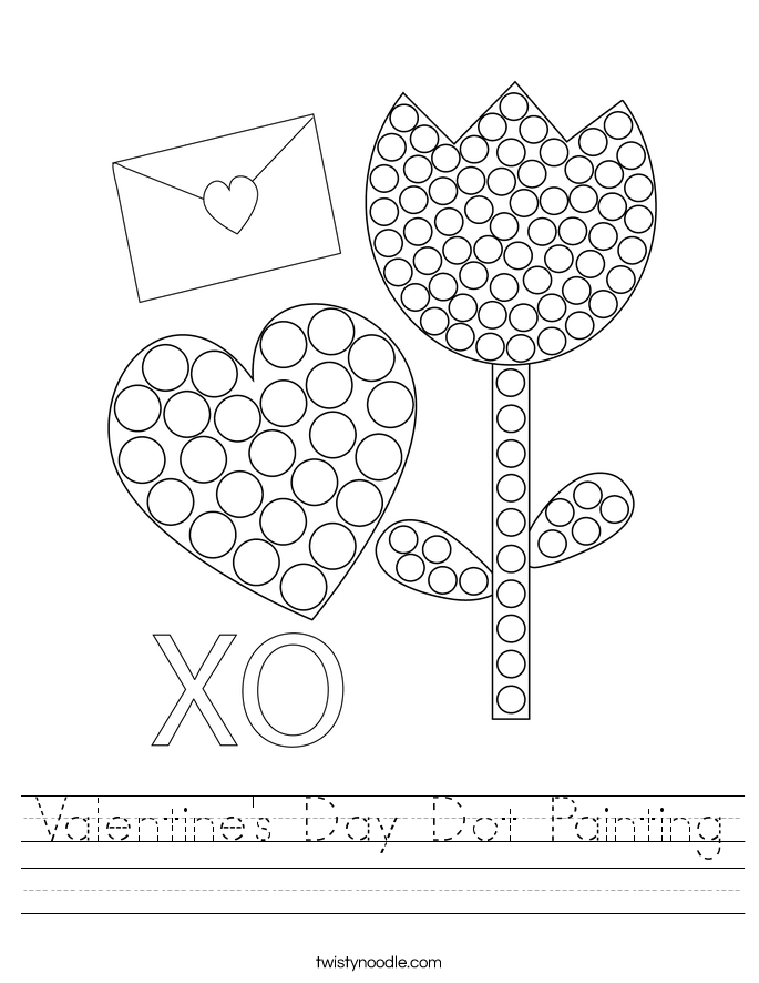 Valentine's Day Dot Painting Worksheet