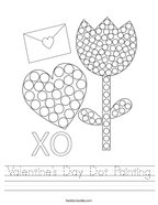Valentine's Day Dot Painting Handwriting Sheet