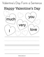 Valentine's Day Form a Sentence Coloring Page