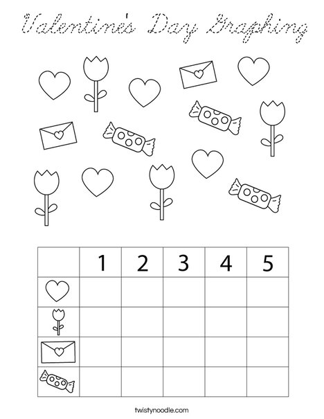 Valentine's Day Graphing Coloring Page - Cursive - Twisty ...