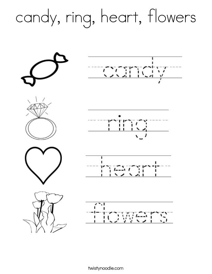 candy, ring, heart, flowers Coloring Page
