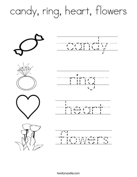 Valentine's Day Handwriting Coloring Page