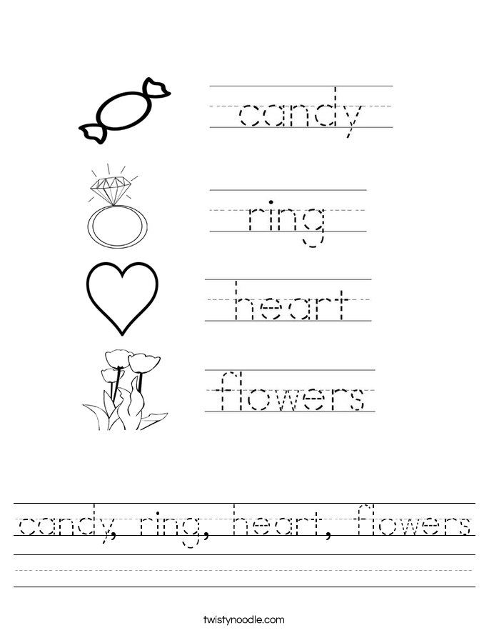 candy, ring, heart, flowers Worksheet