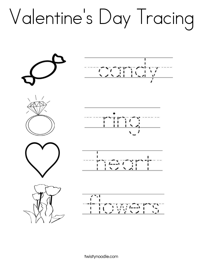 Valentine's Day Tracing Coloring Page