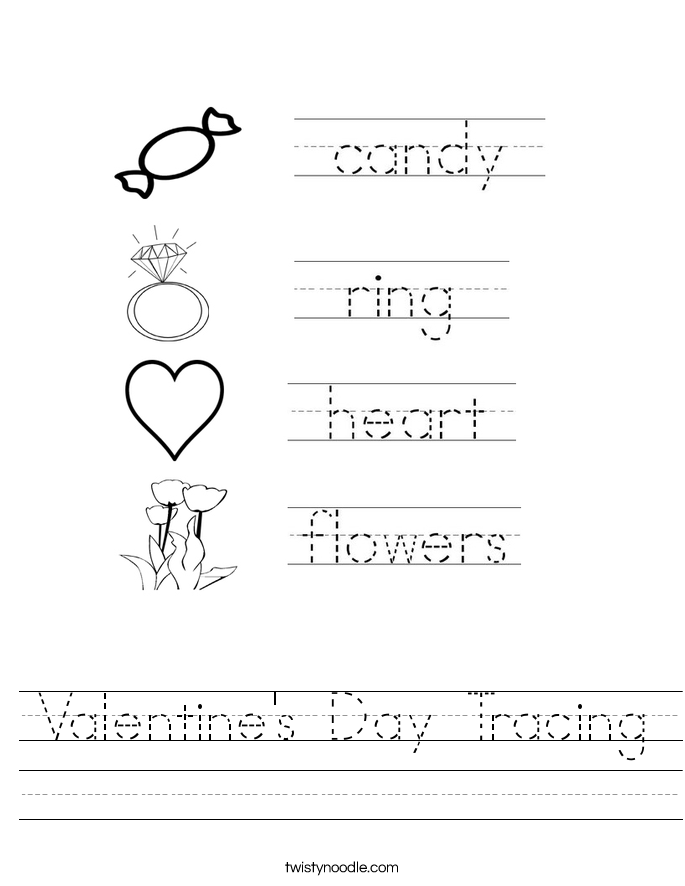 valentine 39 s day tracing worksheet twisty noodle. Black Bedroom Furniture Sets. Home Design Ideas