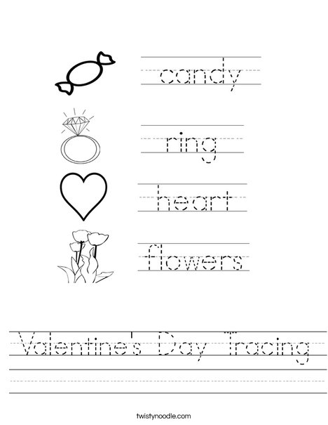 Valentines Day Tracing Worksheet Twisty Noodle