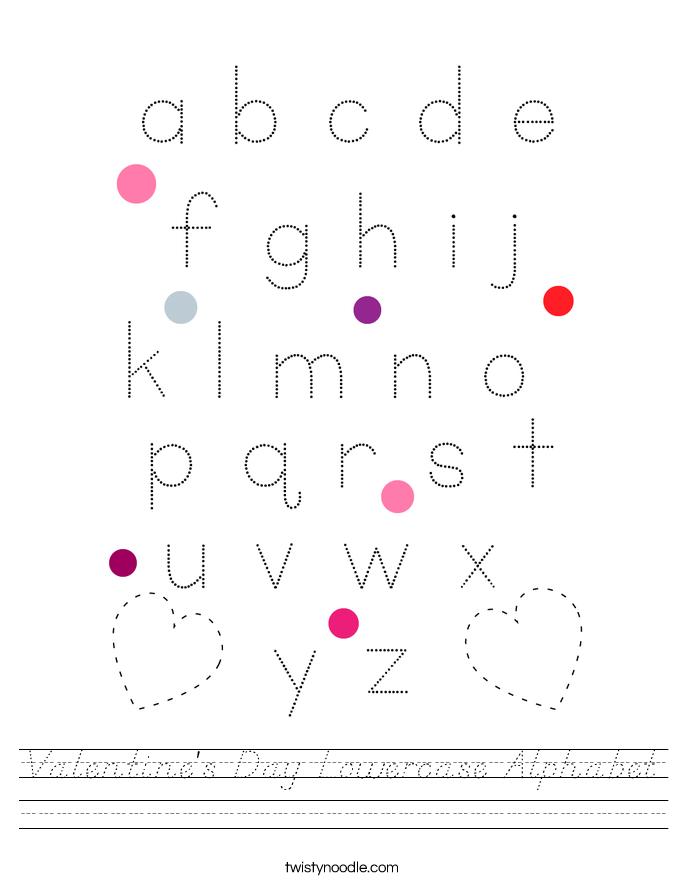 Valentine's Day Lowercase Alphabet Worksheet