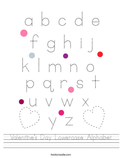 Valentine's Day Lowercase Alphabet Worksheet