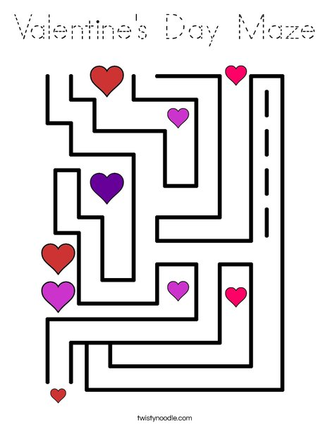Valentine's Day Maze Coloring Page