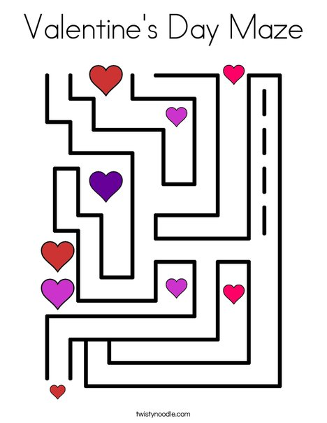 Valentineu0027s Day Maze Coloring Page