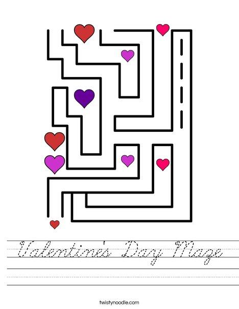 Valentine's Day Maze Worksheet