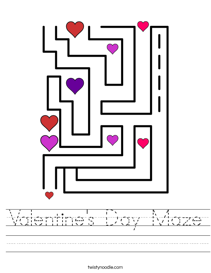 Valentine's Day Maze Worksheet