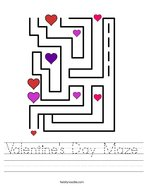 Valentine's Day Maze Handwriting Sheet