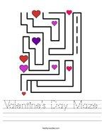 Valentine's Day Maze Handwriting Sheet