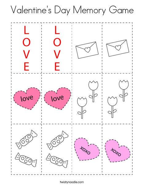 Valentine's Day Memory Game Coloring Page