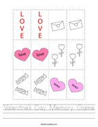 Valentine's Day Memory Game Handwriting Sheet