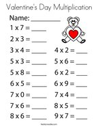 Valentine's Day Multiplication Coloring Page