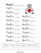 Valentine's Day Multiplication Handwriting Sheet