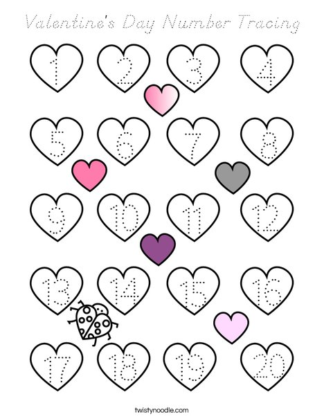 Valentine's Day Number Tracing Coloring Page