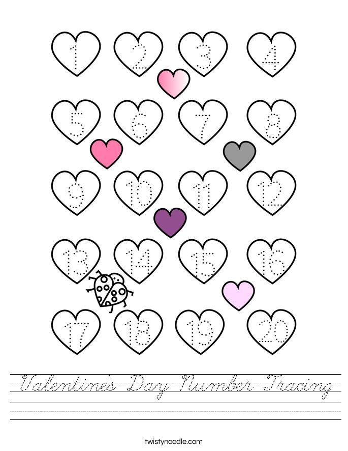 Valentine's Day Number Tracing Worksheet